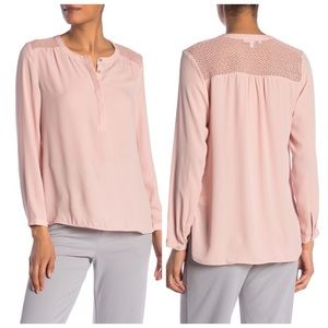 Crochet Lace Long Sleeve Blouse Pale Blush